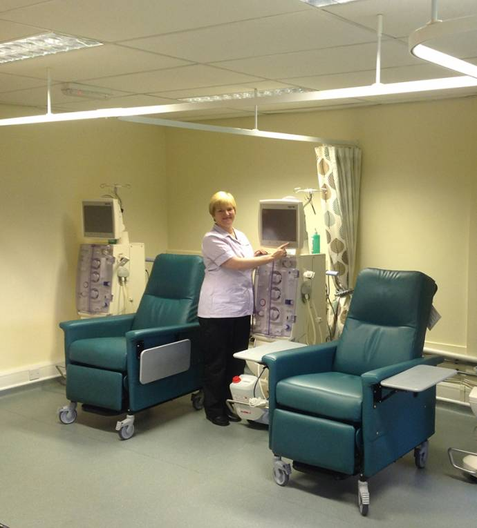 Image of dialysis machine and Louise Edgar